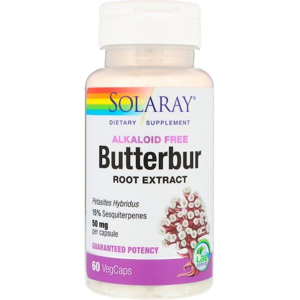 Solaray, Butterbur Root Extract, 50 mg, 60 VegCaps
