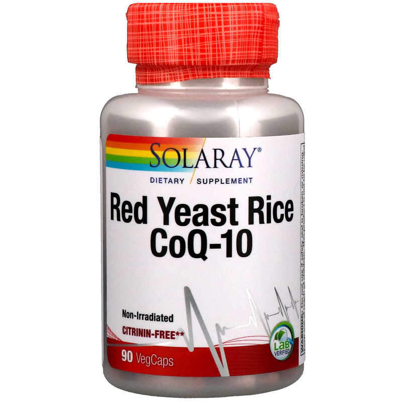 Solaray, Червен дрожден ориз CoQ-10, 90 VegCaps