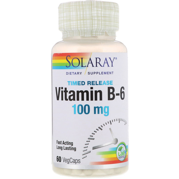 Solaray, Vitamin B-6, Time Release, 100 mg, 60 VegCaps (Discontinued Item)