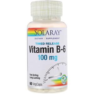 Соларай, Vitamin B-6, Time Release, 100 mg, 60 VegCaps отзывы
