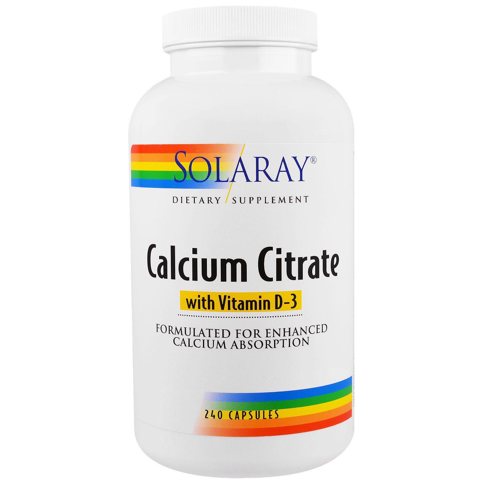 Solaray, Цитрат кальция с витамином D-3, 240 капсул