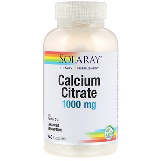Solaray, Calcium Citrate, 1000 mg, 240 Capsules