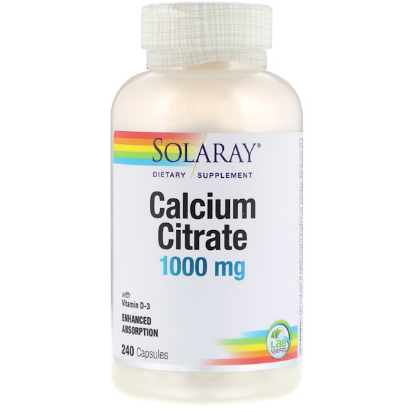 Solaray, Calcium Citrate, 1,000 mg, 240 Capsules