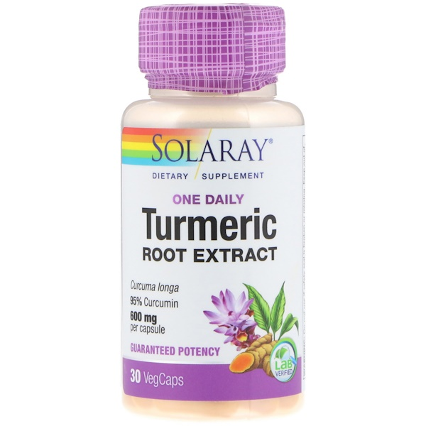 Solaray, One Daily, Turmeric Root Extract, 600 mg, 30 VegCaps (Discontinued Item)
