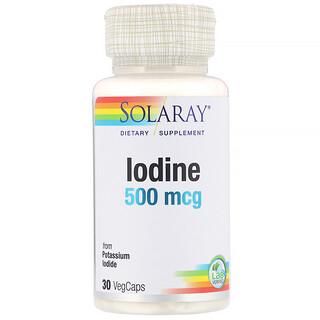 Solaray, Iodine from Potassium Iodide, 500 mcg, 30 VegCaps