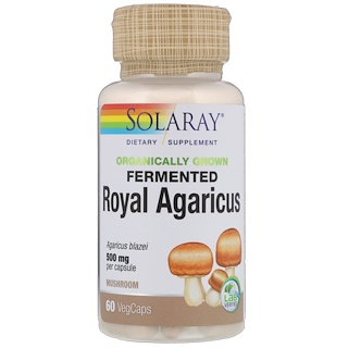 Solaray, Organically Grown Fermented Royal Agaricus, Mushroom, 500 mg, 60 VegCaps