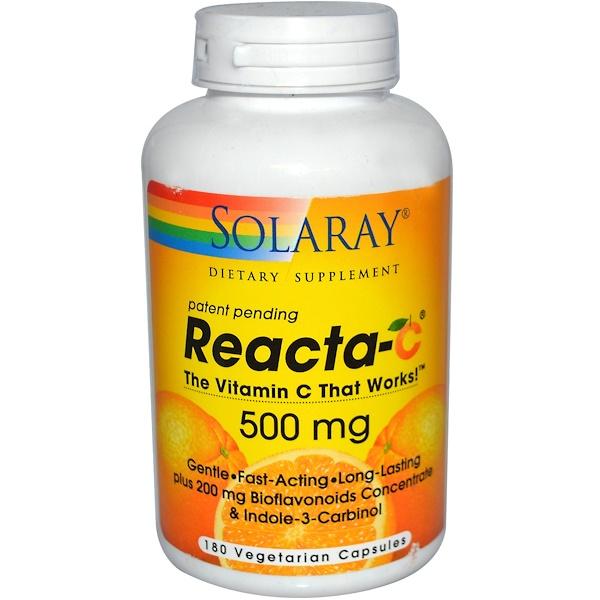 Solaray, Reacta-C, 500 mg, 180 Veggie Caps (Discontinued Item)