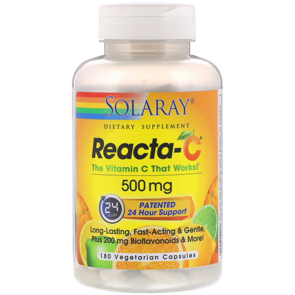 Solaray, Reacta-C, 500 mg, 180 Vegetarian Capsules