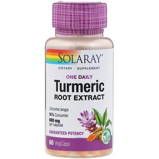 Solaray, One Daily Turmeric Root Extract, 600 mg, 60 VegCaps