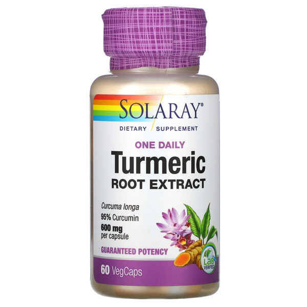 Solaray, Turmeric Root Extract, One Daily, 600 mg, 60 VegCaps