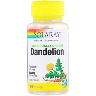 Solaray, Organically Grown Dandelion, 520 mg, 100 VegCaps