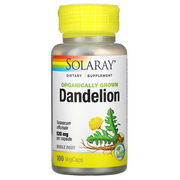 Solaray, Organically Grown Dandelion, 520 mg, 100 VegCaps (Discontinued Item)