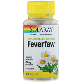 Solaray, Organically Grown Feverfew, 455 mg, 100 VegCaps