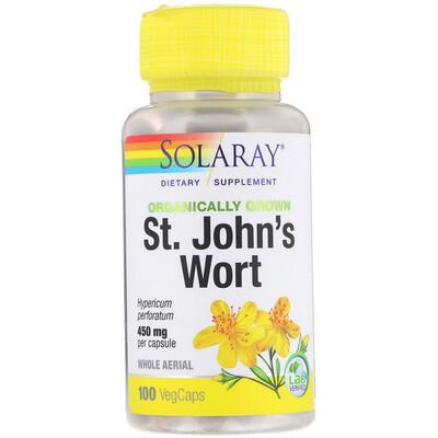 Купить Solaray Органически выращенный зверобой, 450 мг, 100 капсул с оболочкой из ингредиентов растительного происхождения