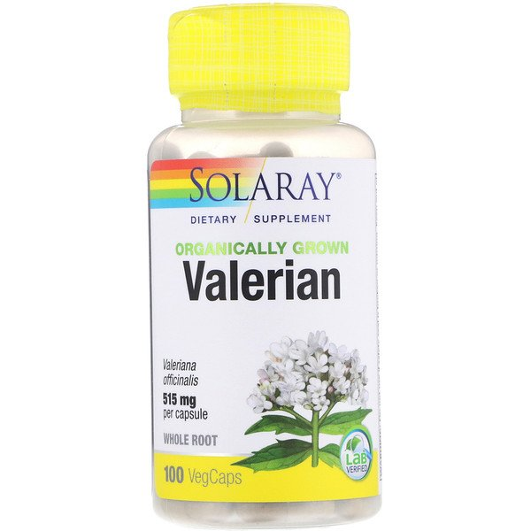 Solaray, Organically Grown Valerian, 515 mg, 100 VegCaps (Discontinued Item)