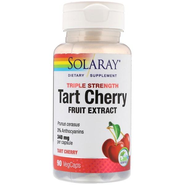 Solaray, Triple Strength Tart Cherry Fruit Extract, 340 mg, 90 VegCaps