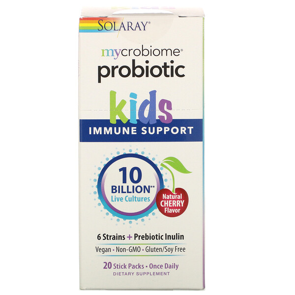 Mycrobiome Probiotic, Kids Immune Support, Natural Cherry Flavor, 10 Billion Live Cultures, 20 Stick Packs