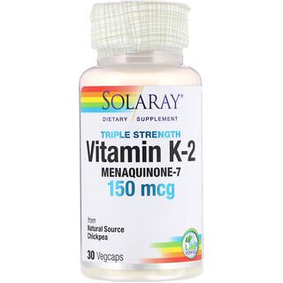 Solaray, فيتامين ك-2 ميناكينون-7 بقوة ثلاثية، 150 مكجم، 30 كبسولة نباتية