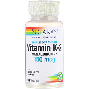Соларай, Triple Strength Vitamin K-2 Menaquinone-7, 150 mcg, 30 VegCaps отзывы