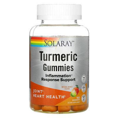 Solaray Turmeric Gummies, Natural Mango, 60 Gummies
