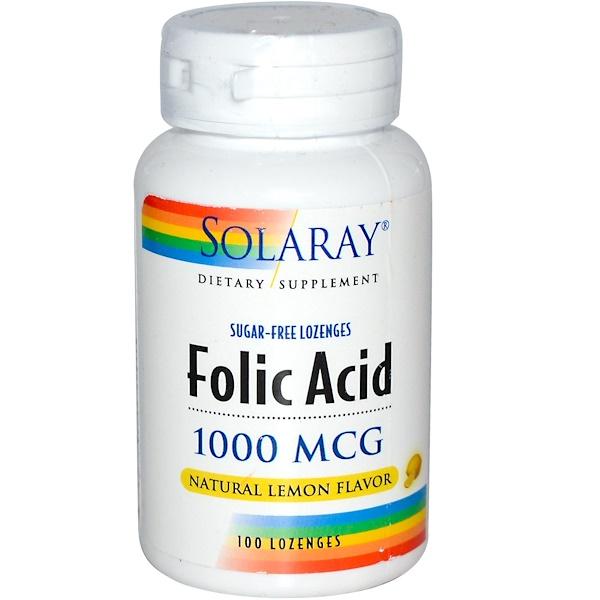 Solaray, Folic Acid, Sugar-Free, Natural Lemon Flavor, 1,000 mcg, 100 Lozenges (Discontinued Item)