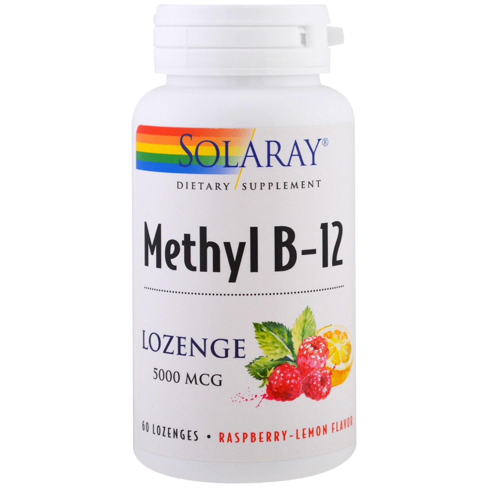 Solaray, Метил B-12, малина-лимон, 5000 мкг, 60 леденцов