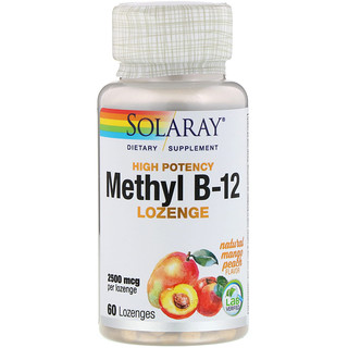 Solaray, High Potency Methyl B-12, Natural Mango Peach, 2500 mcg, 60 Lozenges