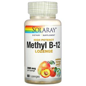 Соларай, High Potency Methyl B-12, Natural Mango Peach, 2,500 mcg, 60 Lozenges отзывы