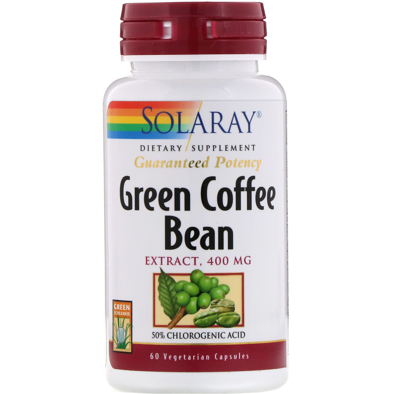 Solaray Green Coffee Bean Extract 400 Mg 60 Vegetarian Capsules Iherb