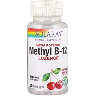 Solaray, Mega Potency Methyl B-12, Natural Cherry Flavor, 5000 mcg, 60 Lozenges