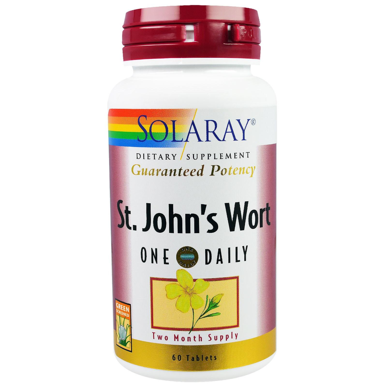 Solaray, St. John\'s Wort, One Daily, 60 Tablets - iHerb.com