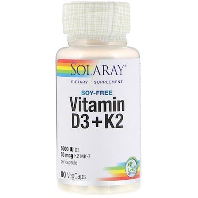 Купить Витамин D3 + K2, без сои, 60 капсул с оболочкой из ингредиентов растительного происхождения
