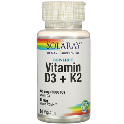 Solaray витаминыD3 и K2, без сои, 125мкг (5000МЕ), 60растительных капсул