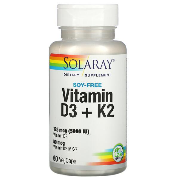 فيتامين د3 + ك2، خالٍ من الصويا، 60 كبسولة نباتية
