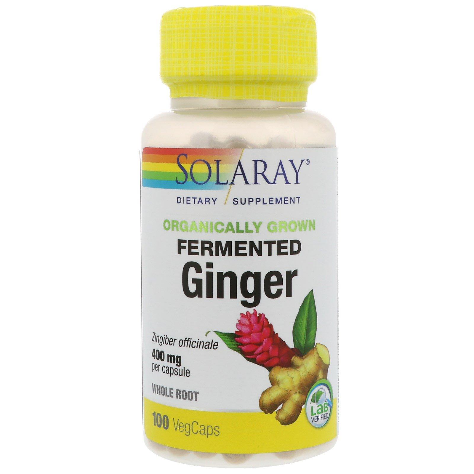 Solaray, Ферментированный имбирь органического происхождения, 400 мг, 100 капсул растительного происхождения