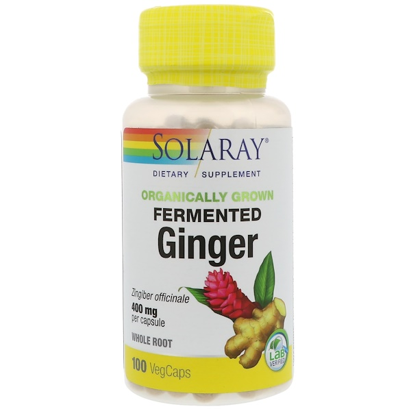 Solaray, Organically Grown Fermented Ginger, 400 mg, 100 VegCaps