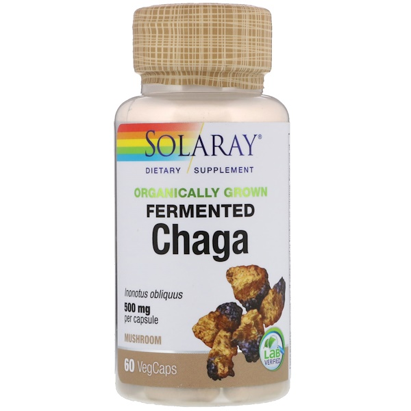 Solaray, Chaga orgânica fermentada, 500 mg, 60 cápsulas vegetais (Discontinued Item)