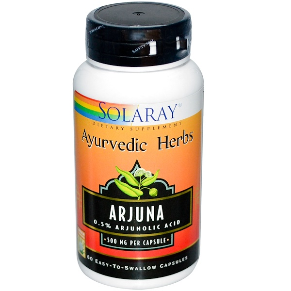 Solaray, Arjuna, 500 mg, 60 Easy-To-Swallow Capsules (Discontinued Item)
