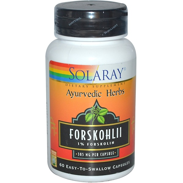 Solaray, Ayurvedic Herbs, Forskohlii, 385 mg, 60 Easy-To-Swallow Capsules (Discontinued Item)