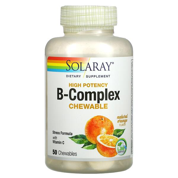 Solaray, High Potency Vitamin B-Complex, Natural Orange, 50 Chewables