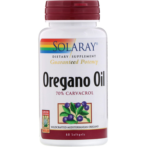 Solaray, Oregano Oil, 70% Carvacrol, 60 Softgels