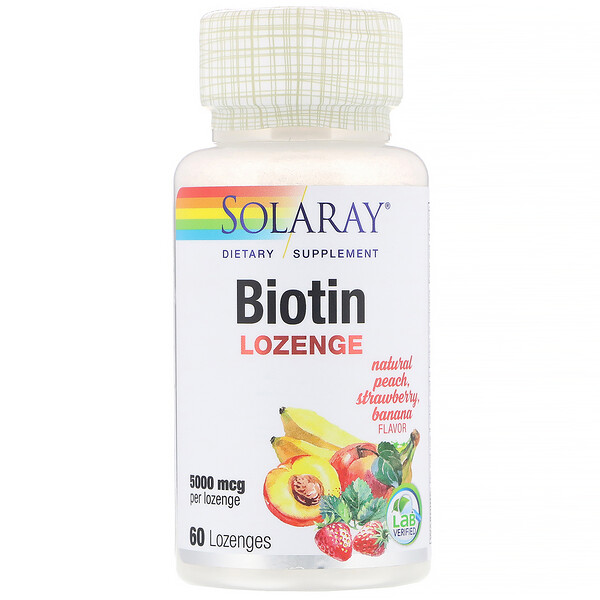 Solaray, 生物素,天然桃子,草莓,香蕉味,5000 微克,60 粒錠劑