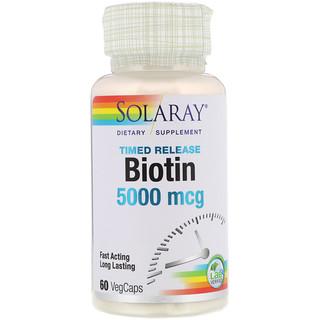 Solaray, ビオチン、5,000 mcg、ベジキャップ使用 60 錠