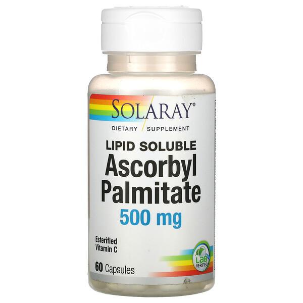 Solaray, 抗坏血酸棕榈酸酯,脂溶性,500 毫克,60 粒胶囊