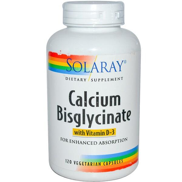 Solaray, Calcium Bisglycinate, With Vitamin D-3, 120 Veggie Caps (Discontinued Item)
