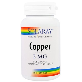 Solaray, Copper, 2 mg, 100 Capsules