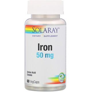 Solaray, 鐵,50毫克,60粒素食膠囊