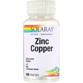 Solaray, Zinc Copper, 100 VegCaps
