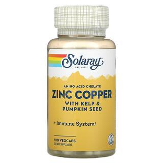 Solaray, Zinc Copper with Kelp & Pumpkin Seed, 100 VegCaps