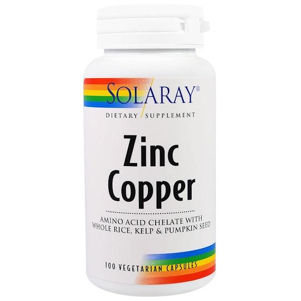 Solaray, Zinc Copper, 100 Veggie Caps